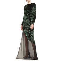 Prabal Gurung Burnout Velvet Long Sleeve Gown