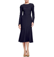 Prabal Gurung Button Trim Long Sleeve Midi Dress