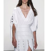 Prabal Gurung Deep V Button Sleeve Tunic