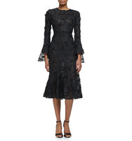 Prabal Gurung Embroidered Feather Long Sleeve Flounce Dress