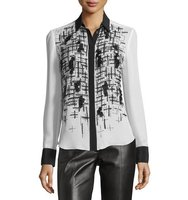 Prabal Gurung Embroidered Front Two Tone Blouse
