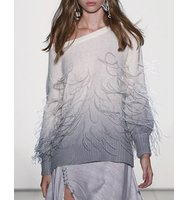 Prabal Gurung Feather Degrade Off the Shoulder Sweater