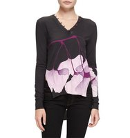 Prabal Gurung Floral Button Trim Sweater