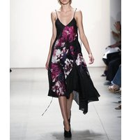 Prabal Gurung Floral Matelasse Asymmetric Hem Dress