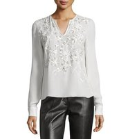 Prabal Gurung Long Sleeve Embellished Blouse