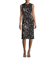 Prabal Gurung Metallic Floral Print Sheath Dress