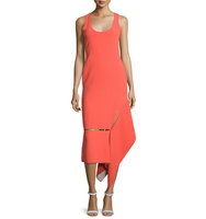Prabal Gurung Sleeveless Asymmetric Hem Midi Dress