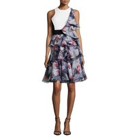 Prabal Gurung Sleeveless Ruffle Dress W Cutouts