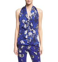 Prabal Gurung Sleeveless Tie Neck Floral Print Blouse