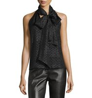 Prabal Gurung Sleeveless Tie Neck Shimmery Blouse