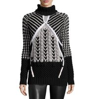 Prabal Gurung Two Tone Chunky Turtleneck Sweater