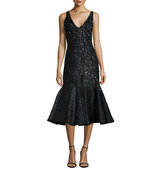 Rachel Gilbert Acacia Embellished Fluted Dress