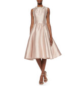 Rachel Gilbert Alexis Jewel Neck Fit and Flare Dress