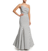 Rachel Gilbert Aria Diamond Print Mermaid Gown