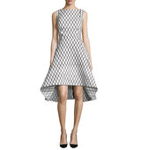Rachel Gilbert Aria Sleeveless Diamond Print High Low Dress