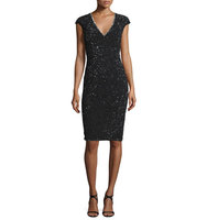 Rachel Gilbert Cap Sleeve Sequined Cocktail Sheath Dress