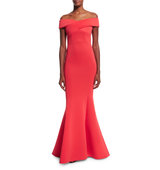 Rachel Gilbert Enico Off the Shoulder Knit Mermaid Gown