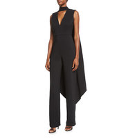 Rachel Gilbert Leandra Stretch Woven Jumpsuit w Cape