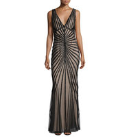 Rachel Gilbert Linear Beaded Sleeveless V Neck Gown