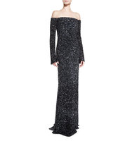 Rachel Gilbert Makenna Off the Shoulder Long Sleeve Gown