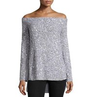 Rachel Gilbert Sequined Off the Shoulder Top