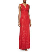 Rachel Gilbert Talena Sequined Surplice Gown