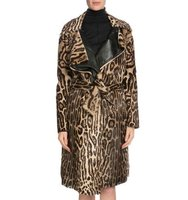 TOM FORD Leopard Print Belted Long Fur Coat