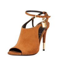 TOM FORD Lock Suede Open Toe Ankle Wrap Bootie