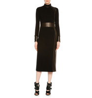 TOM FORD Long Sleeve Combo Midi Sheath Dress