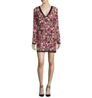 TOM FORD Long Sleeve Floral Embroidered V Neck Dress