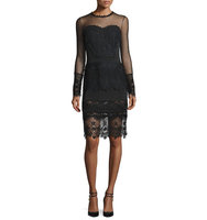 TOM FORD Long Sleeve Lace Trim Sheath Dress