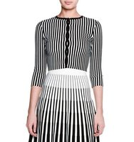 Tomas Maier 3 4 Sleeve Striped Cropped Cardigan