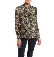 Tory Burch Azra Floral Print Silk Bow Neck Blouse