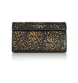 Alaa Laser Cut Python And Metallic Leather Clutch