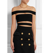 Balmain Cropped Cutout Stretch Knit Top