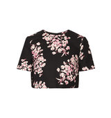 Bibbi Cropped Floral Print Stretch Cotton Top Jonathan Saunders