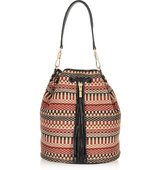 Elizabeth And James Cynnie Sling Woven Cotton And Leather Backpack