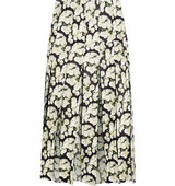 Adam Lippes Pleated Floral Print Leather And Silk Chiffon Skirt Black Intl Shipping