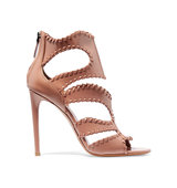 Alaa Cutout Glossed Leather Sandals Intl Shipping