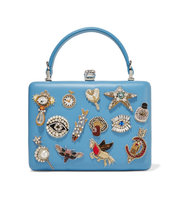 Alexander Mcqueen Embellished Leather Clutch Light Blue Intl Shipping