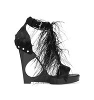 Alexander Mcqueen Feather Embellished Suede And Acrylic Wedge Sandals Black Intl Shipping
