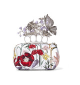 Alexander Mcqueen Knuckle Embroidered Satin Box Clutch Intl Shipping