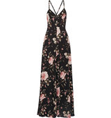 Alice Olivia Alves Floral Print Crepe De Chine Maxi Dress Black Intl Shipping