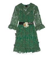 Anna Sui Camilla Velvet Trimmed Crocheted Lace Mini Dress Jade Intl Shipping