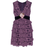 Anna Sui Camilla Velvet Trimmed Crocheted Lace Mini Dress Plum Intl Shipping