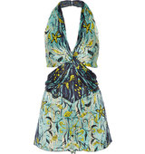 Anna Sui Cutout Printed Silk Crepon Playsuit Turquoise Intl Shipping