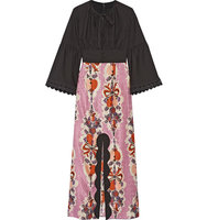 Anna Sui Hearts Garland Twill And Silk And Cotton Blend Jacquard Maxi Dress Black Intl Shipping