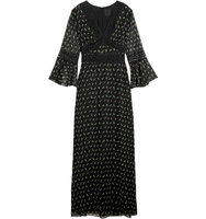 Anna Sui Lace Trimmed Printed Silk Blend Crepon Maxi Dress Black Intl Shipping
