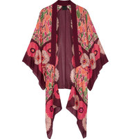 Anna Sui Poppy Buds Printed Cotton And Silk Blend Kimono Burgundy Intl Shipping