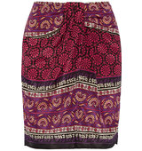 Anna Sui Printed Silk And Cotton Blend Mini Skirt Claret Intl Shipping